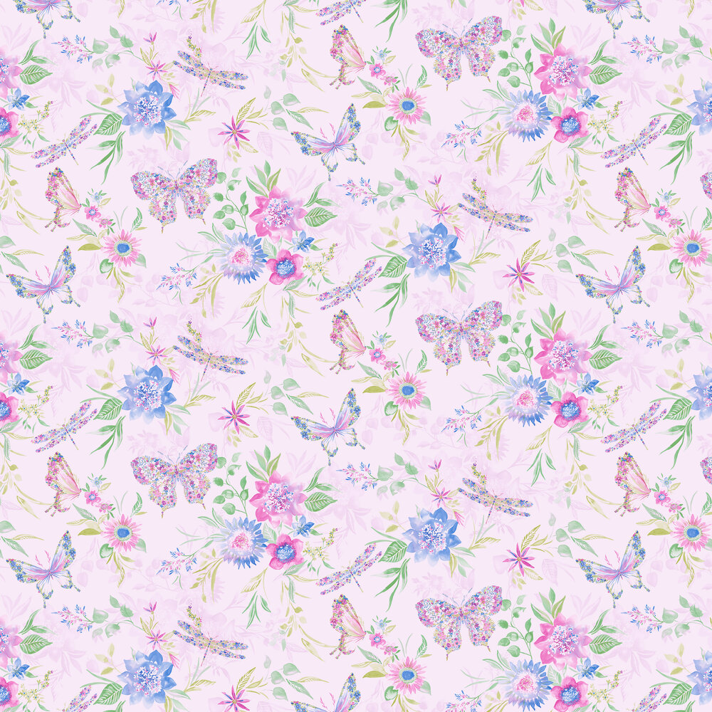 Botanical Butterfly Wallpaper - Pink - by Albany