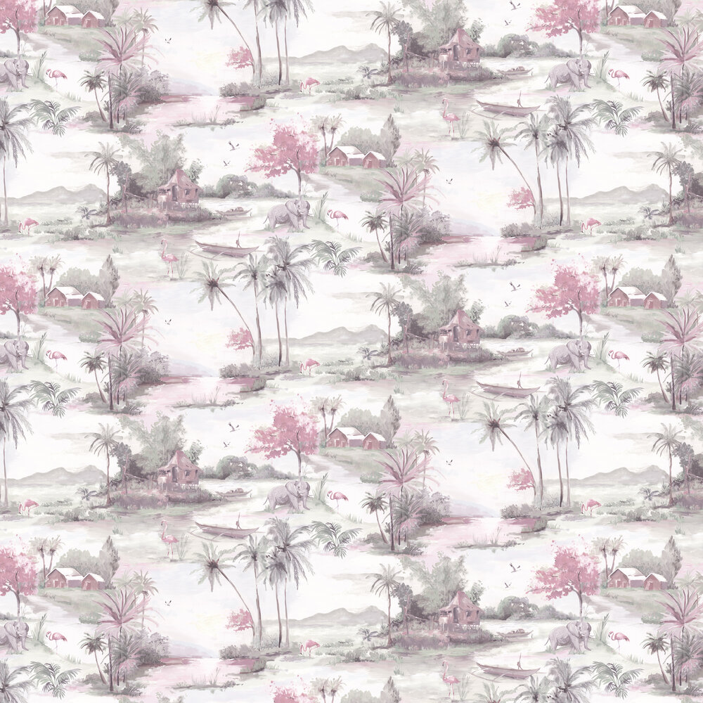 Horizon Wallpaper - Pink and Grey - by Albany