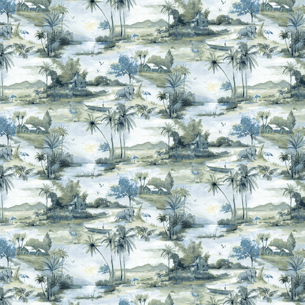 Albany Horizon Teal and Navy Wallpaper - Product code: 90312