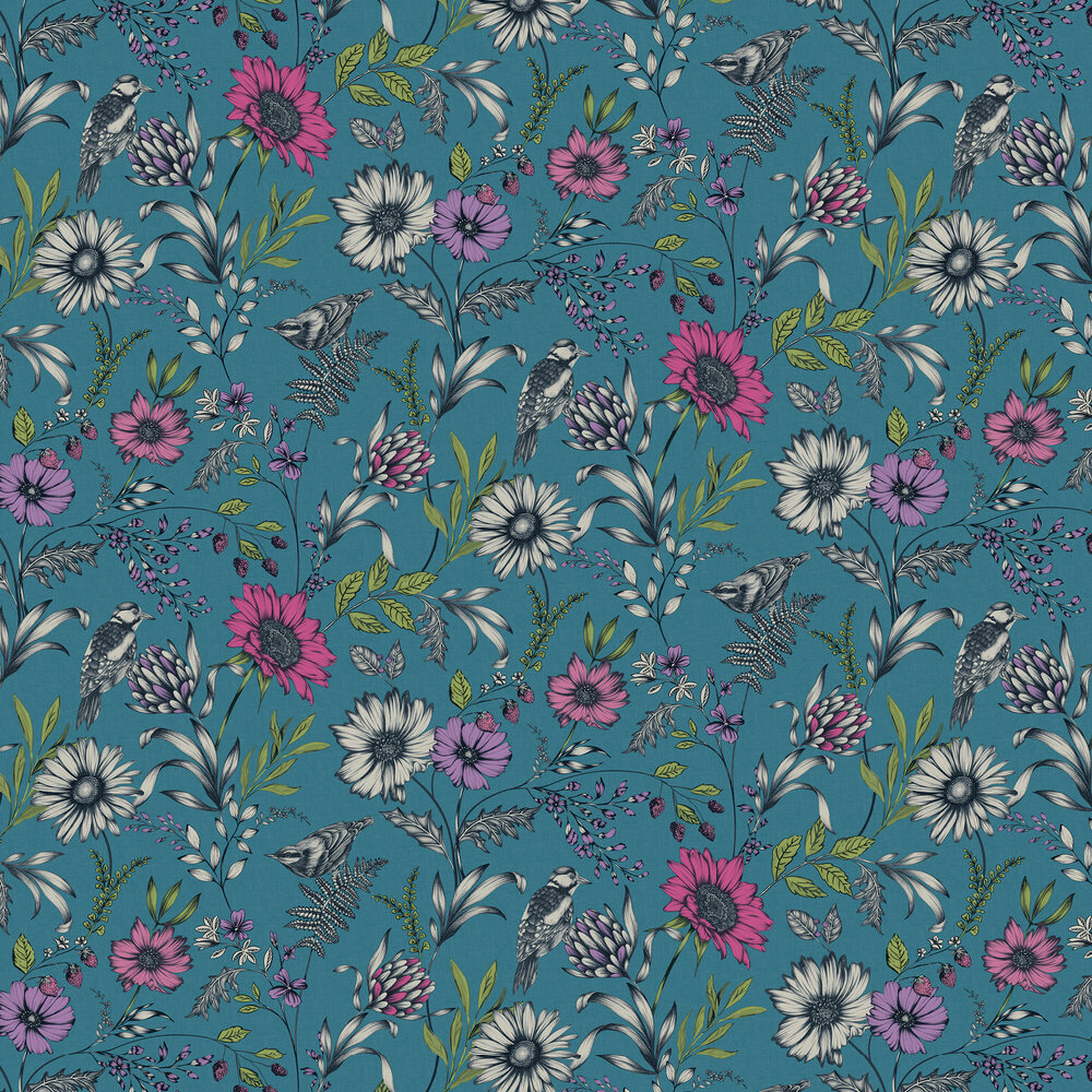 Botanical Songbird Wallpaper - Teal - by Arthouse
