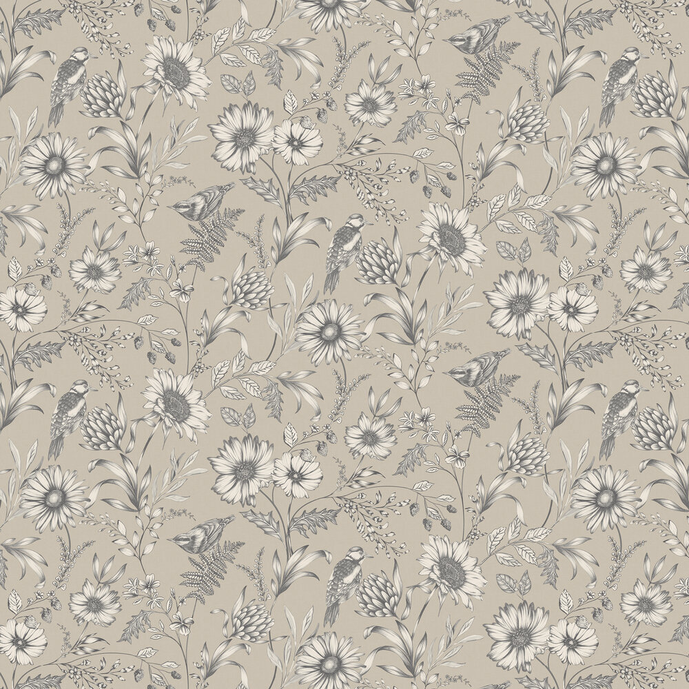 Botanical Songbird Wallpaper - Warm Cream - by Arthouse