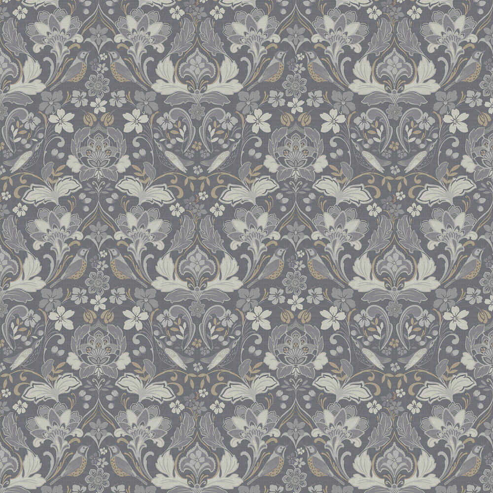Folk Floral Wallpaper - Grey - by Arthouse
