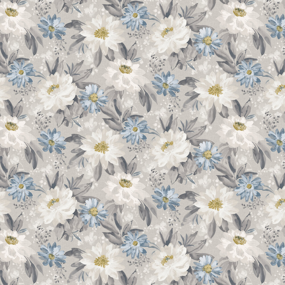 Painted Dahlia Wallpaper - Grey - by Arthouse