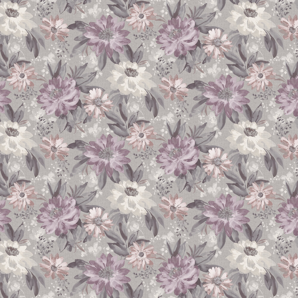 Painted Dahlia Wallpaper - Heather - by Arthouse