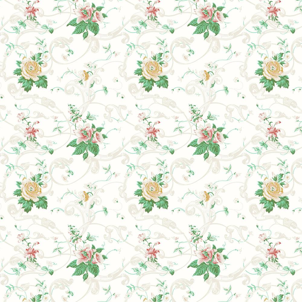 Krusenberg Wallpaper - Pink / Green - by Boråstapeter