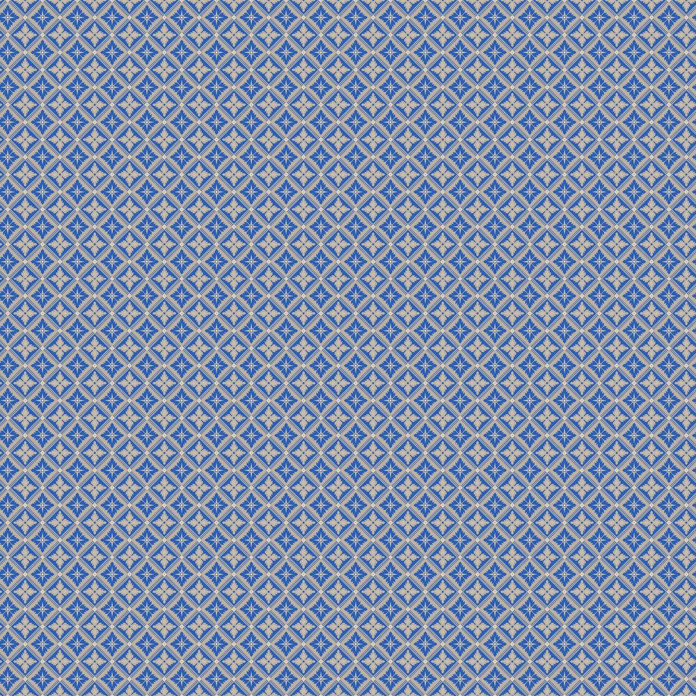 Loka Wallpaper - Vivid Blue and Beige - by Boråstapeter
