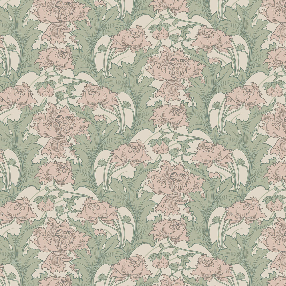 Boråstapeter Siri Dusky Pink and Green Wallpaper - Product code: 4539