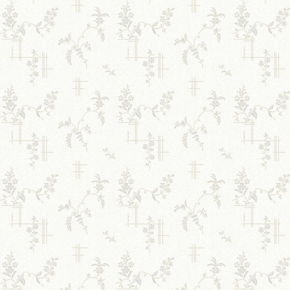 Ulricehamn Wallpaper - Whites and Metallic Silvers - by Boråstapeter