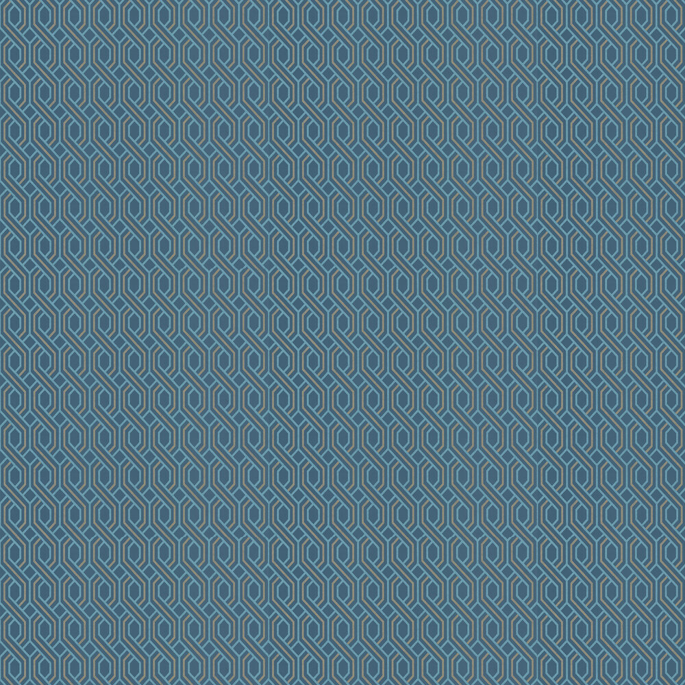 G P & J Baker Boxwood Trellis Indigo and Gold Wallpaper - Product code: BW45082/2