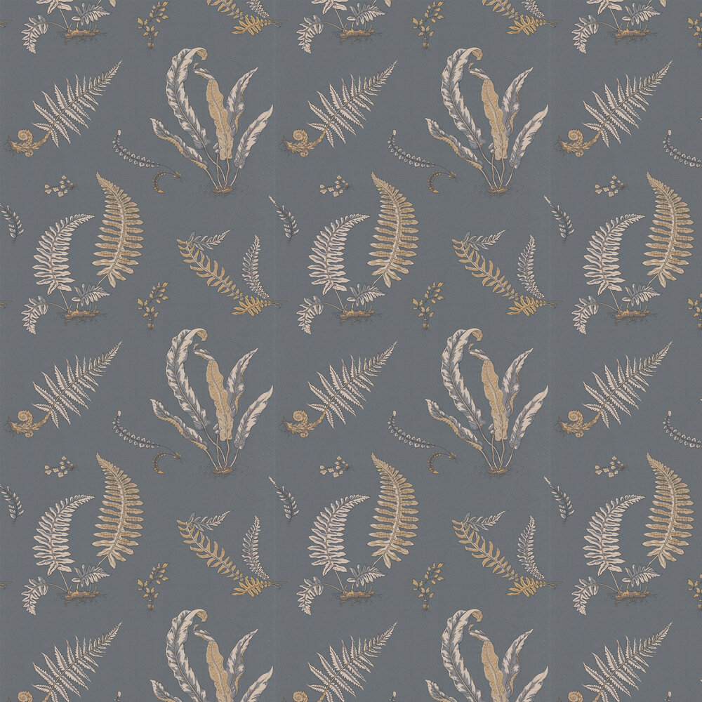 Ferns Wallpaper - Charcoal and Gold  - by G P & J Baker