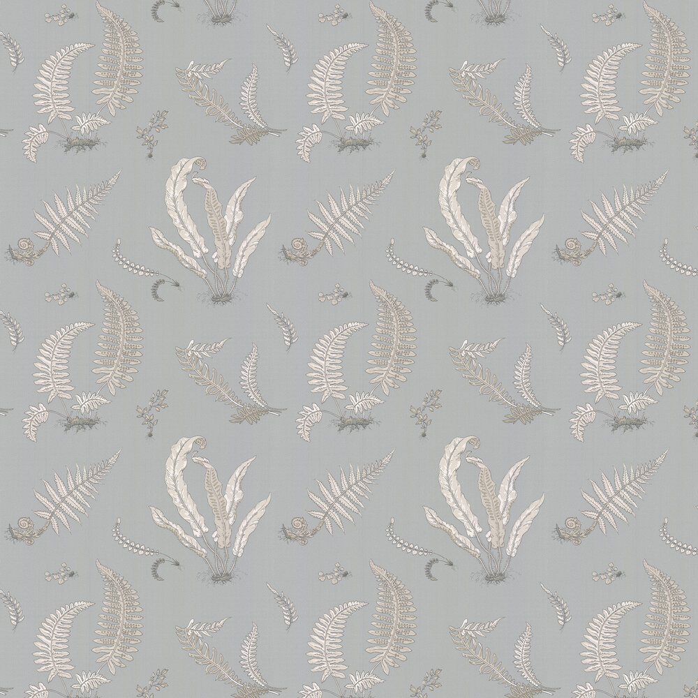 Ferns Wallpaper - Soft Blue - by G P & J Baker
