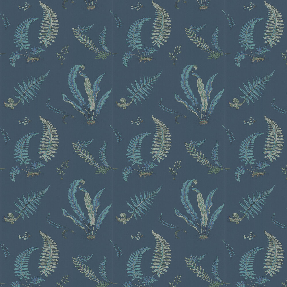 G P & J Baker Ferns Indigo and Teal Wallpaper - Product code: BW45044/9