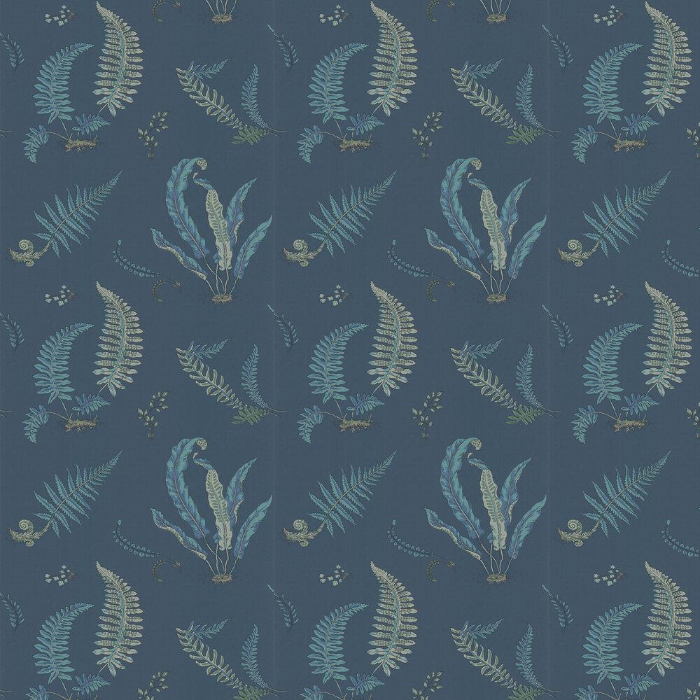 Ferns Wallpaper - Indigo and Teal - by G P & J Baker