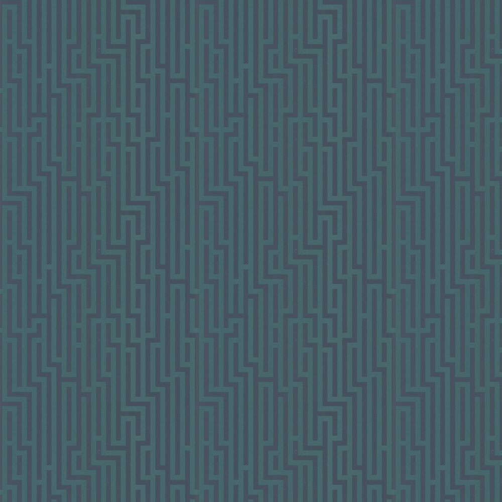 Fretwork Wallpaper - Indigo and Teal - by G P & J Baker