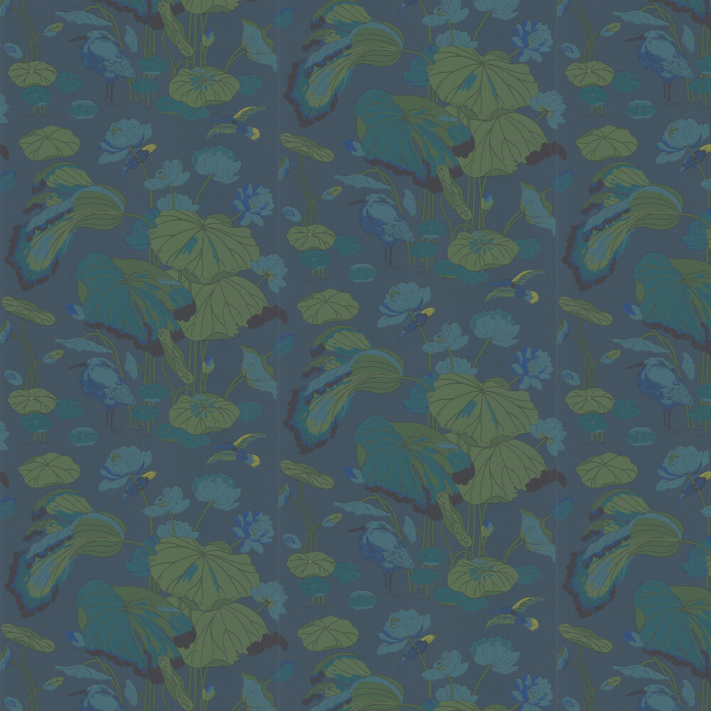 Nympheus Wallpaper - Teal - by G P & J Baker