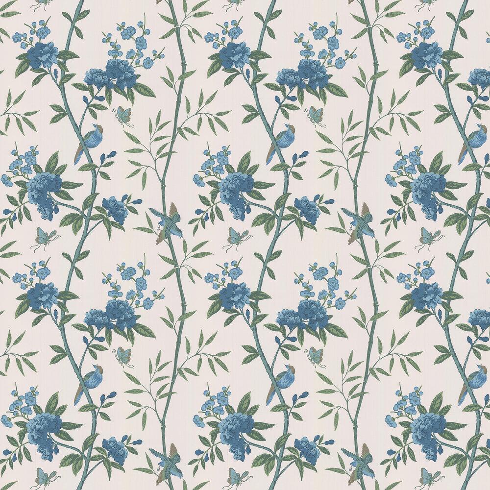 Peony & Blossom Wallpaper - Indigo / Teal - by G P & J Baker