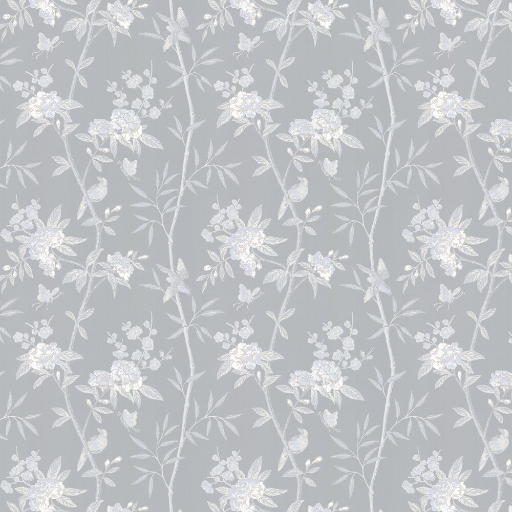 Peony & Blossom Wallpaper - Soft blue - by G P & J Baker