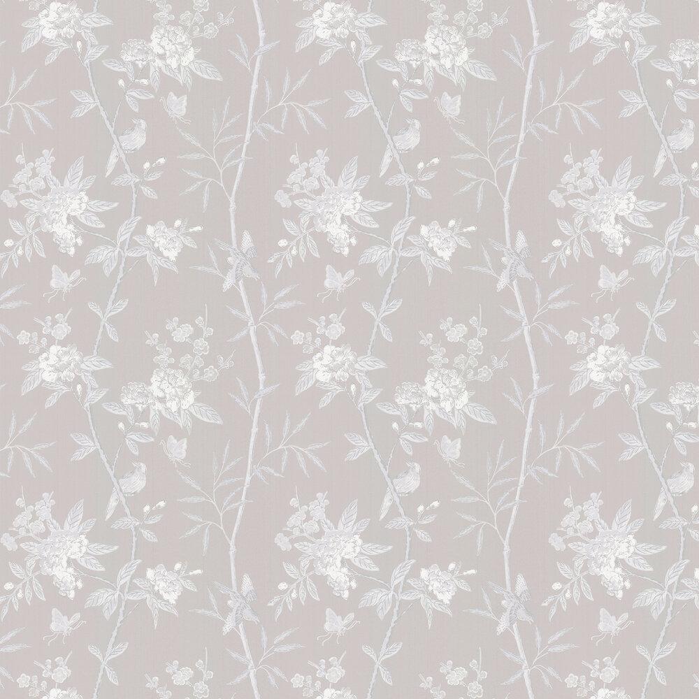 Peony & Blossom Wallpaper - Soft grey - by G P & J Baker