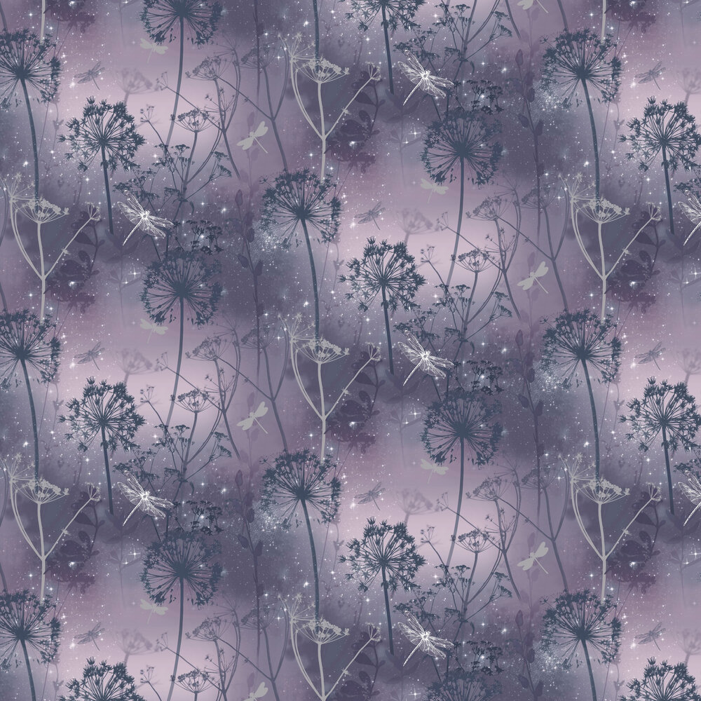 Damselfly Wallpaper - Deep Purple - by Arthouse