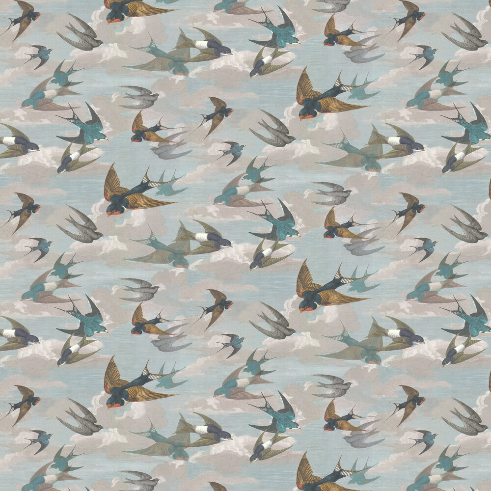 Chimney Swallows Wallpaper - Sky Blue - by Designers Guild