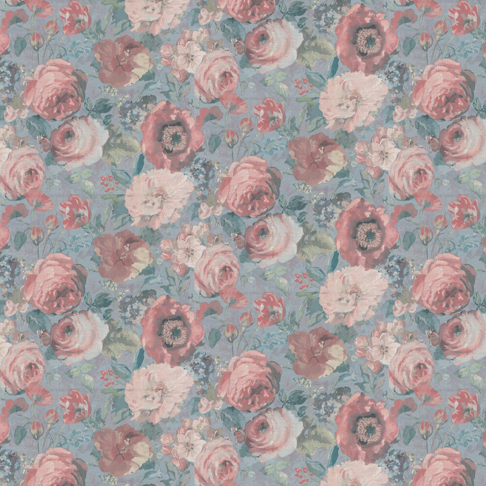 Barbara Floral Wallpaper - Pale Blue and Pink - by Albany