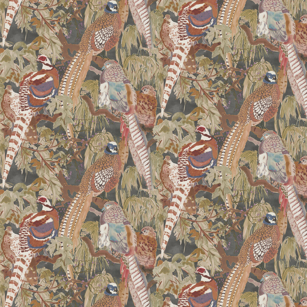 Game Birds Wallpaper - Charcoal - by Mulberry Home