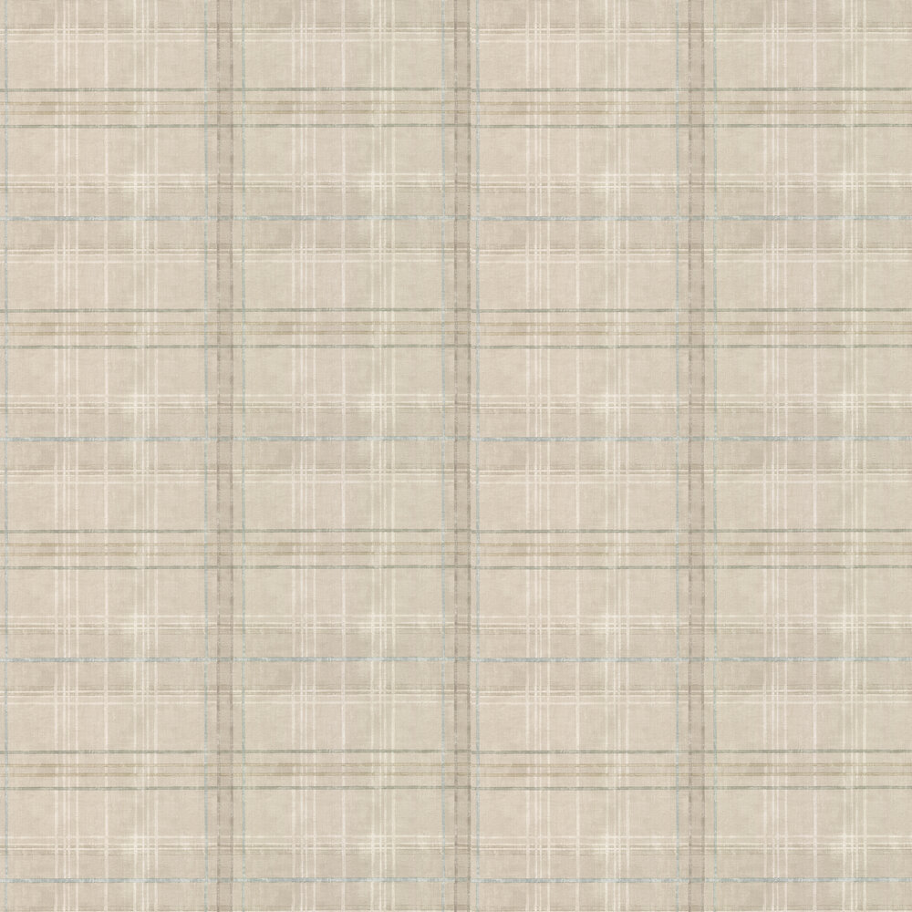 Shetland Plaid Wallpaper - Stone - by Mulberry Home
