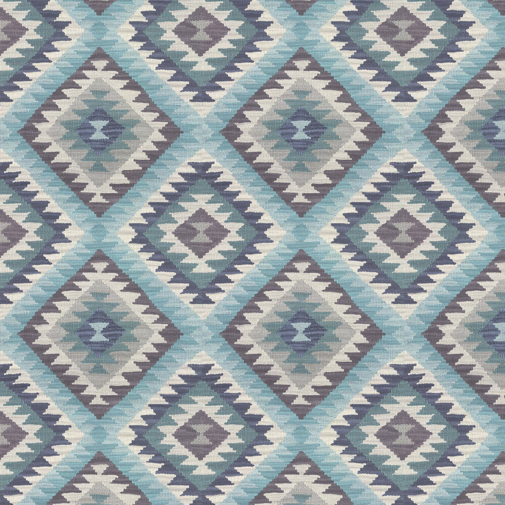 Aztec Diamond Wallpaper - Blue - by Albany