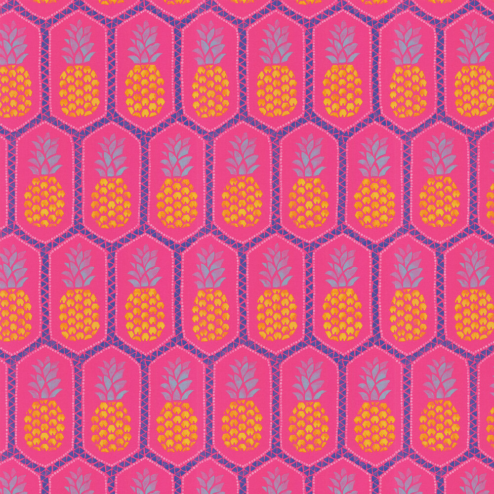 Tropical Pineapple Wallpaper - Pink - by Albany