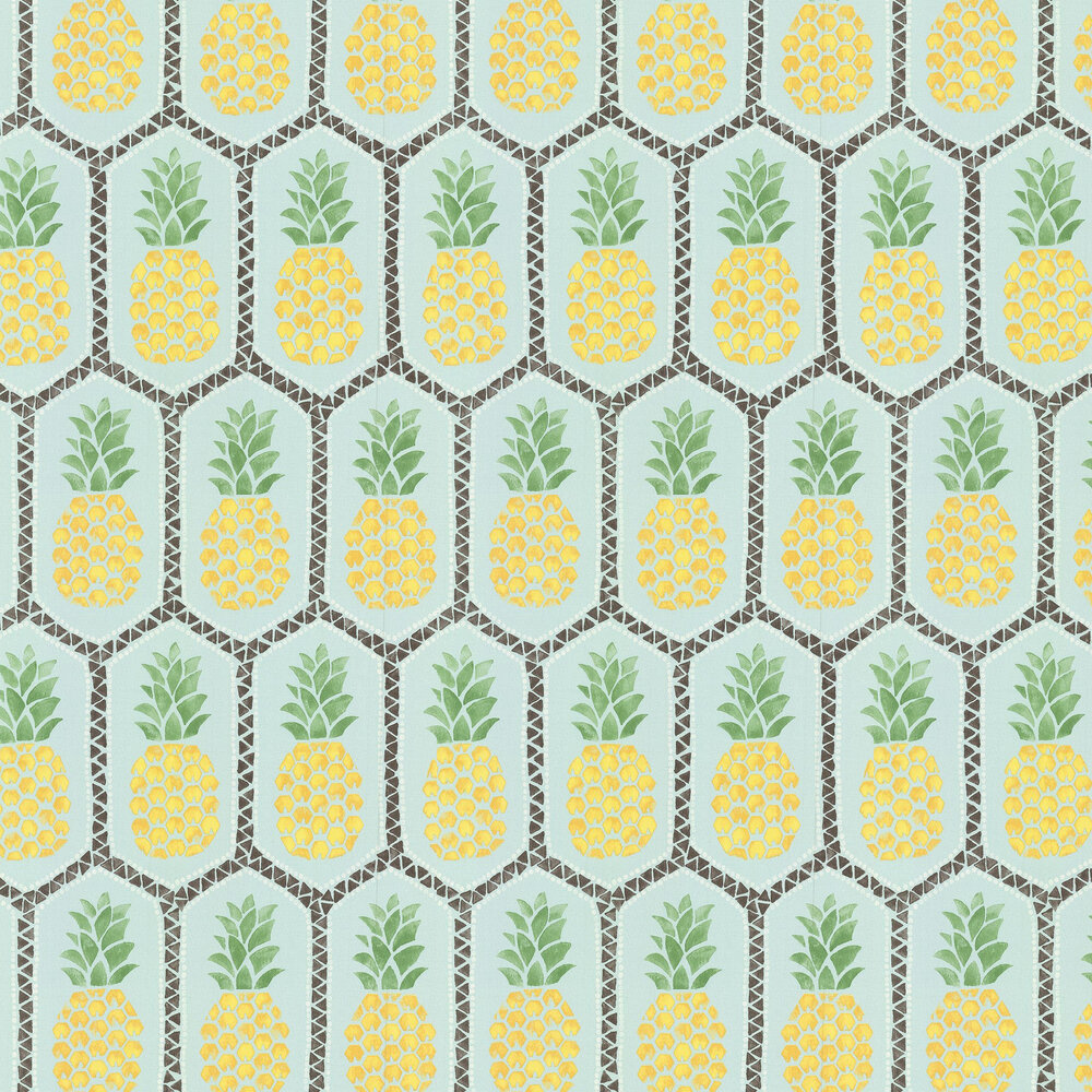 Tropical Pineapple Wallpaper - Aqua - by Albany