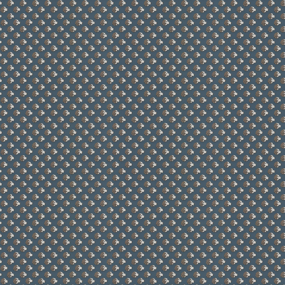 On the Scent Wallpaper - Indigo - by Mulberry Home
