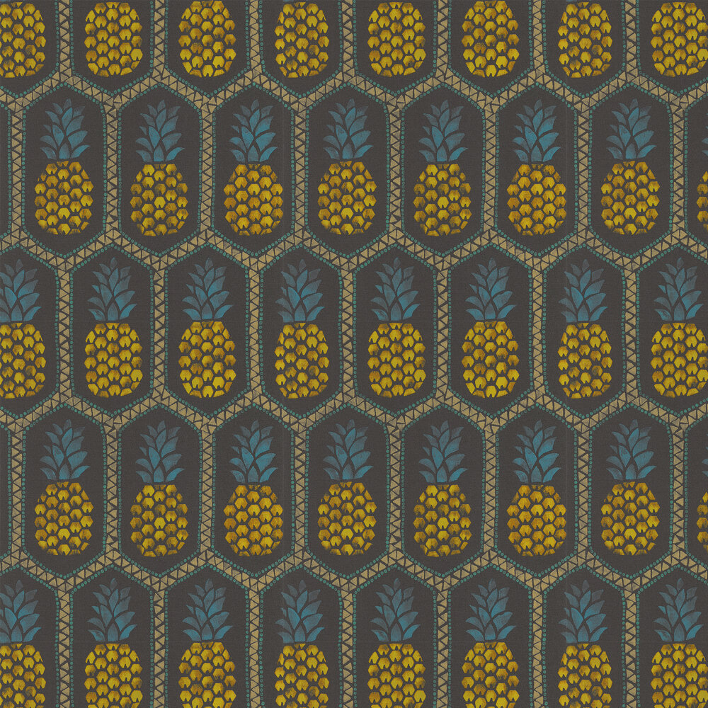 Tropical Pineapple Wallpaper - Black - by Albany