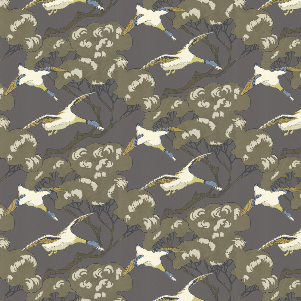 Flying Ducks Wallpaper - Charcoal - by Mulberry Home
