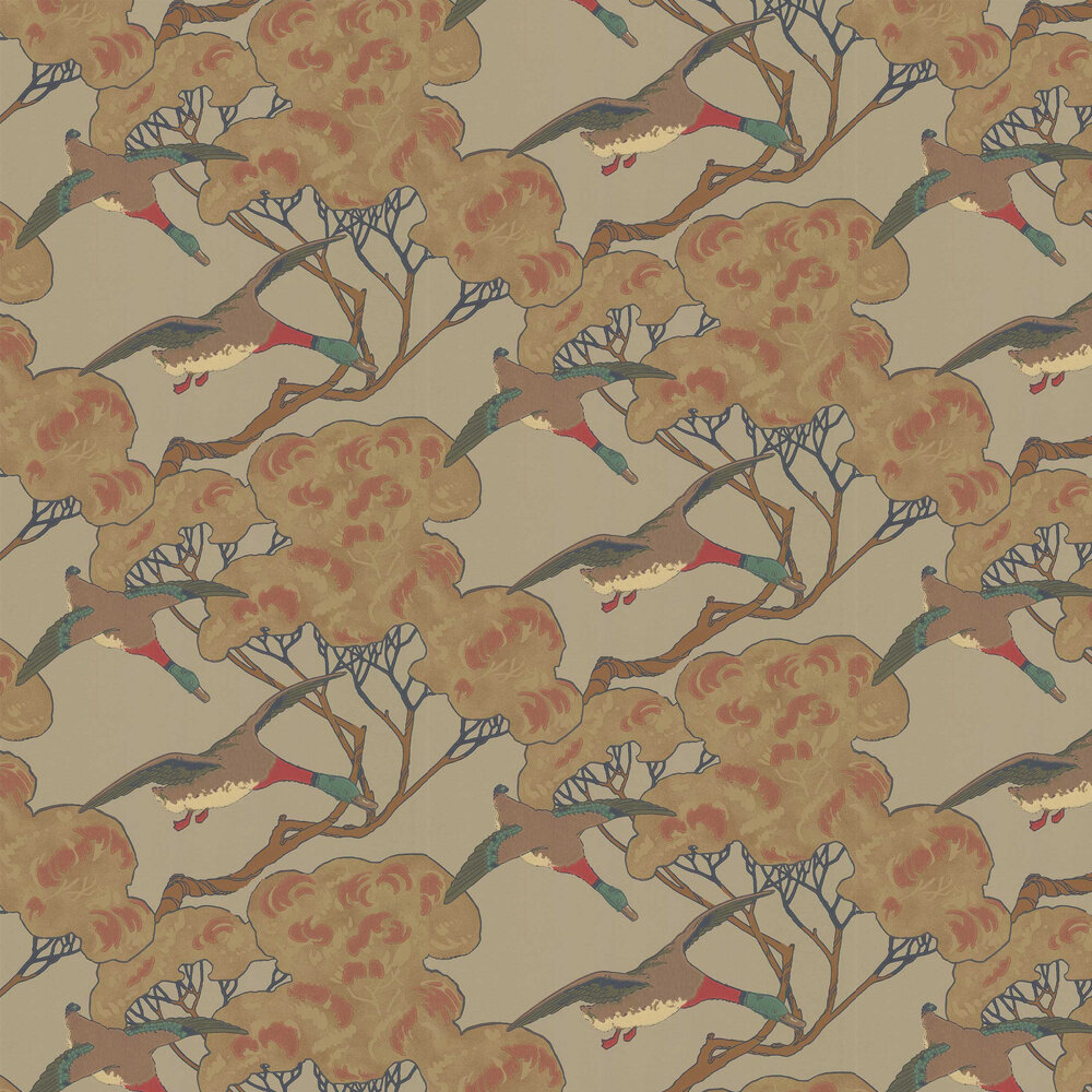 Flying Ducks Wallpaper - Moss - by Mulberry Home