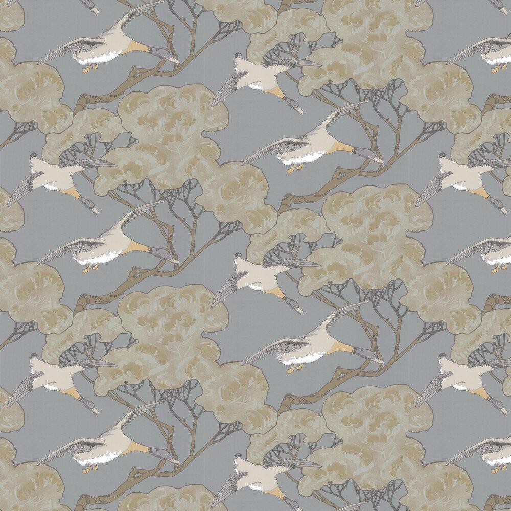 Mulberry Home Flying Ducks Slate Blue Wallpaper - Product code: FG090H54