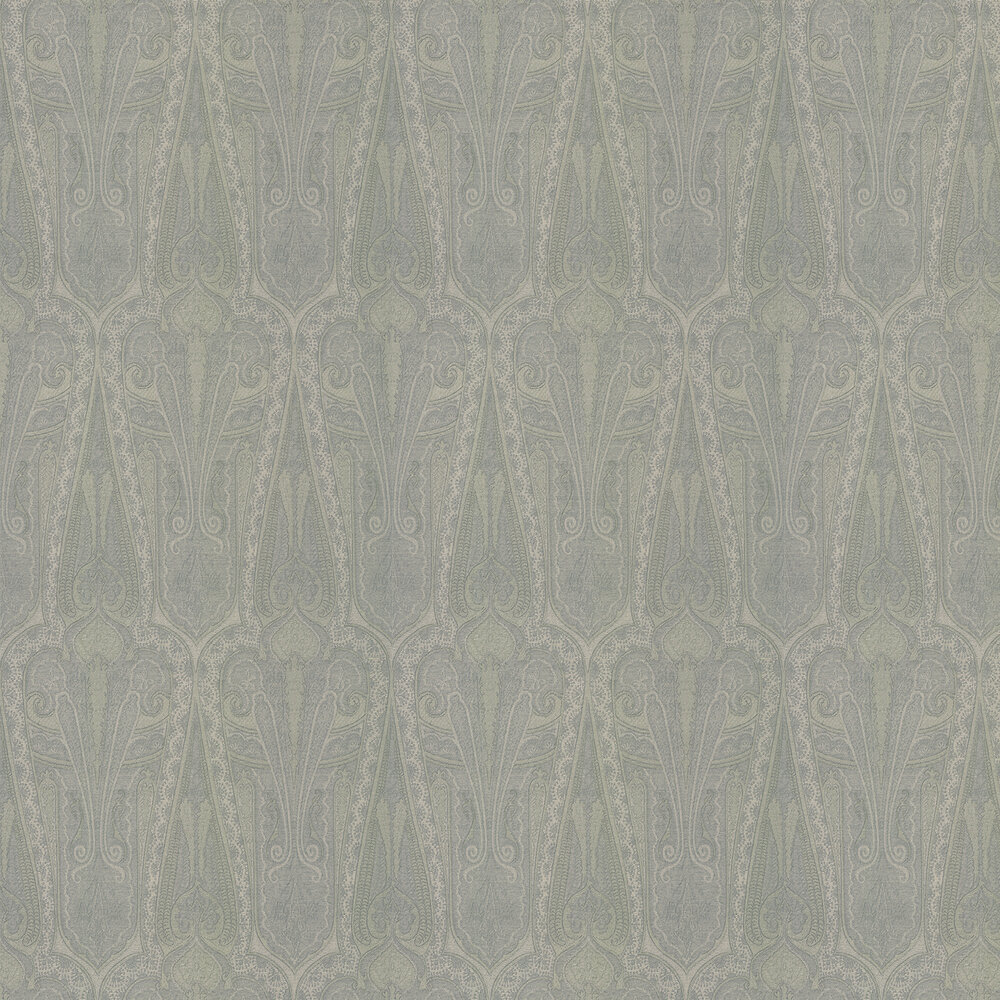 Troika Paisley Wallpaper - Slate Blue - by Mulberry Home