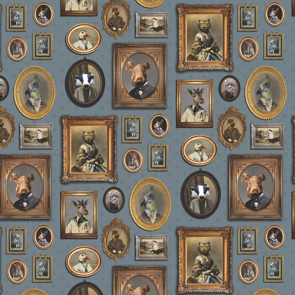 Portrait Gallery Wallpaper - Blue - by Graduate Collection