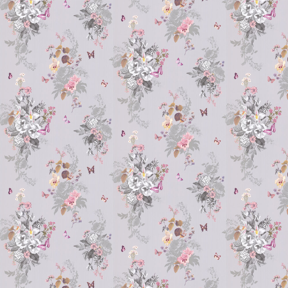 Botanical Bouquet Wallpaper - Grey - by Oasis