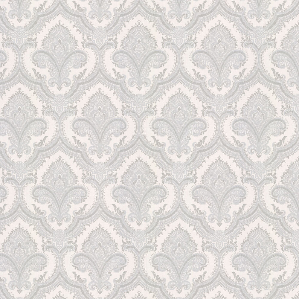 Sassari Damask Wallpaper - Opal White - by Albany