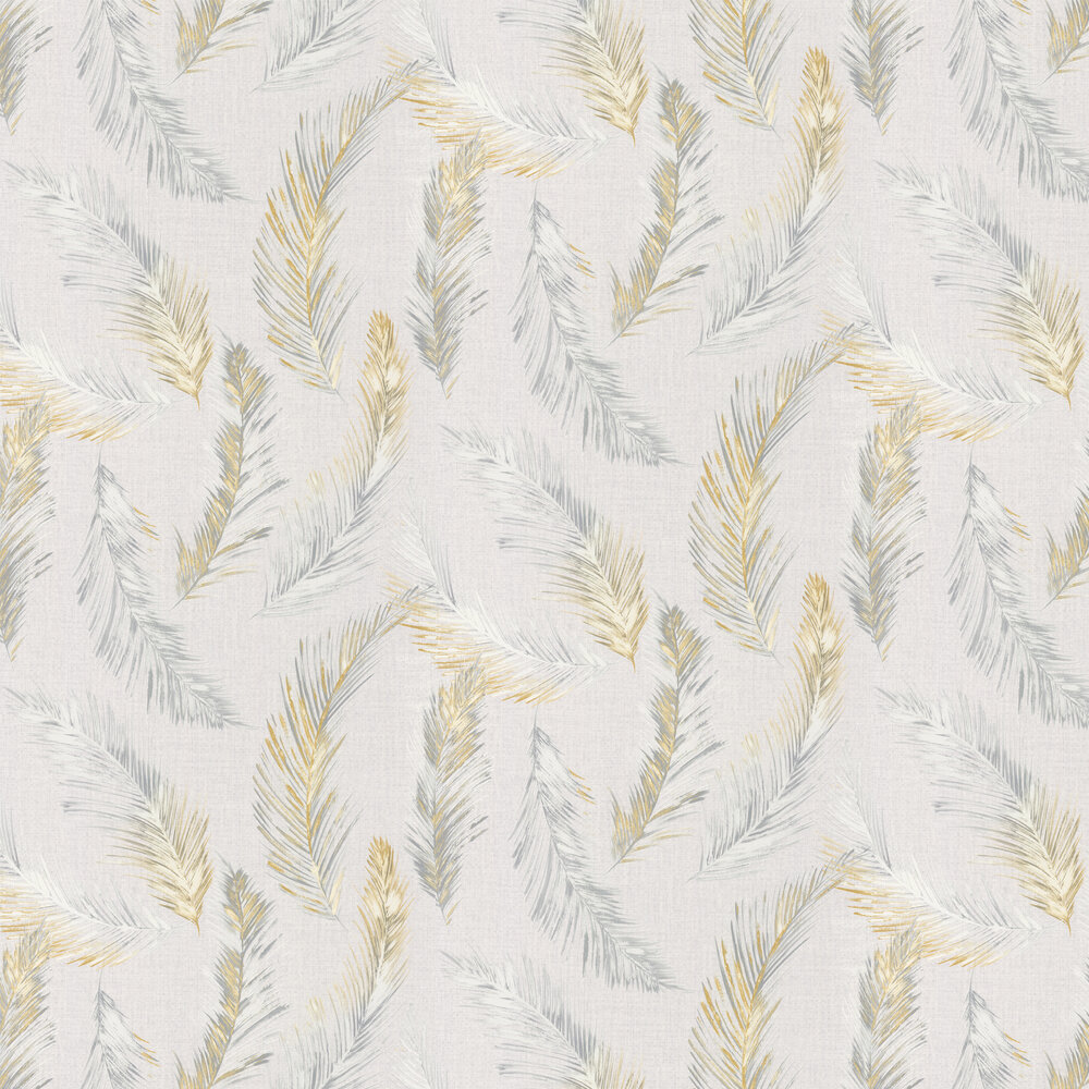 Feathers Wallpaper - Grey / Yellow - by Albany