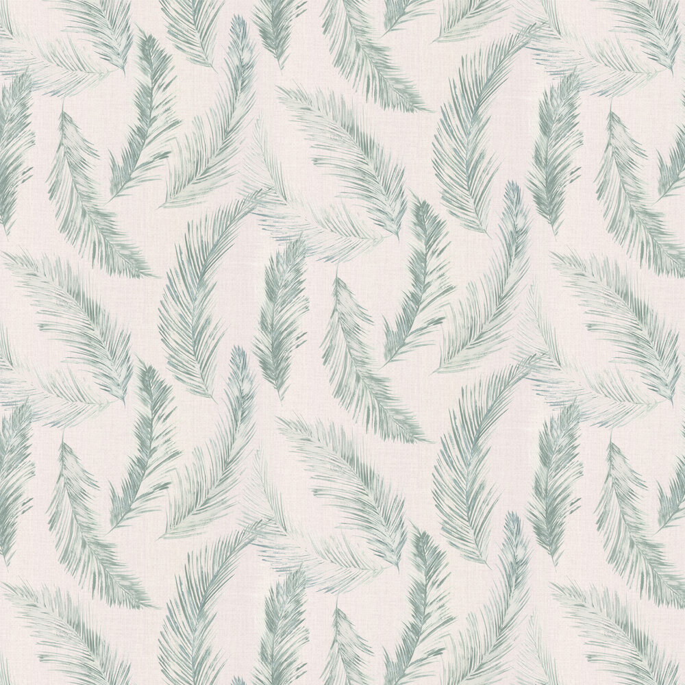 Feathers Wallpaper - Blue / Green - by Albany