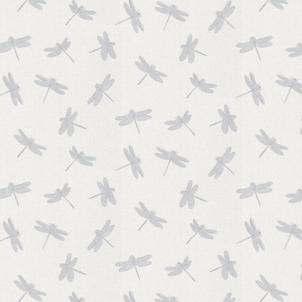 Dragonfly Wallpaper - Silver Grey - by Albany