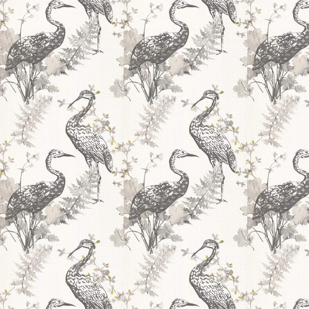 Oriental Bird Wallpaper - Grey - by Albany