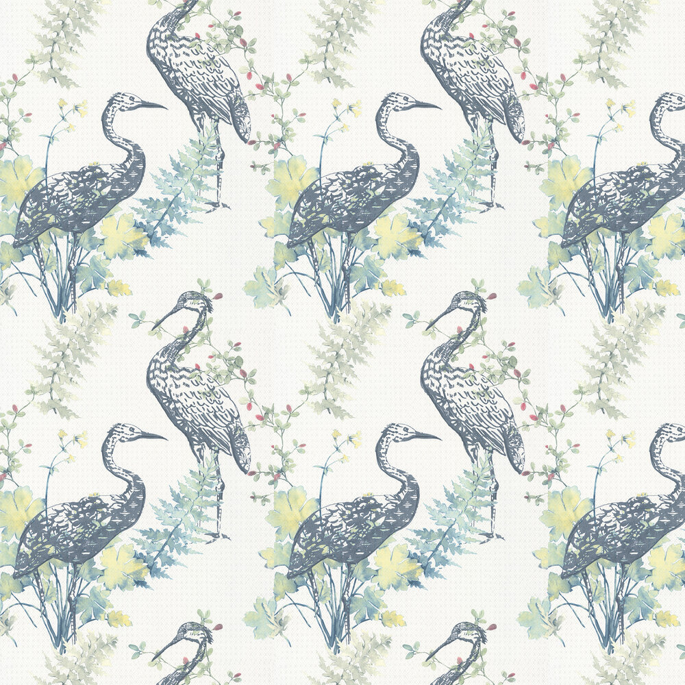 Oriental Bird Wallpaper - Blue / Green - by Albany