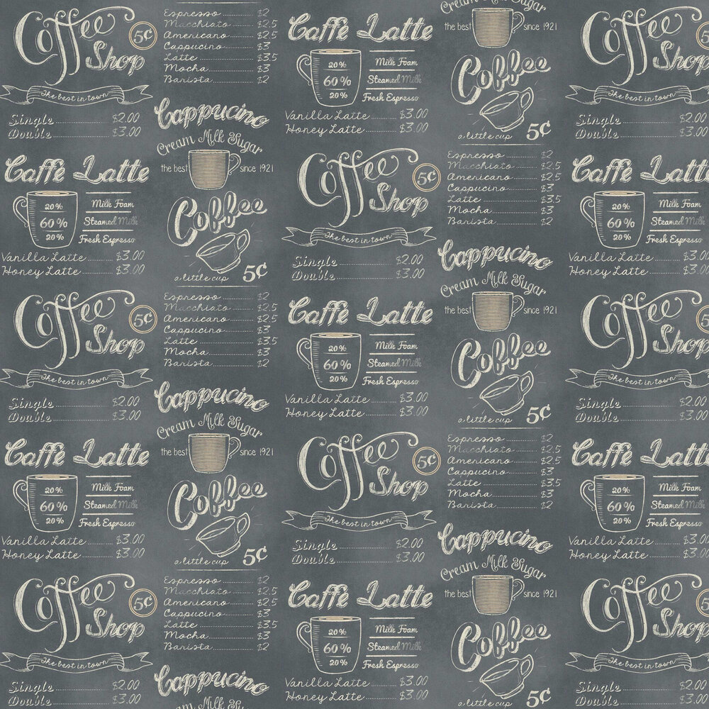 Coffee Shop Wallpaper - Grey - by Albany