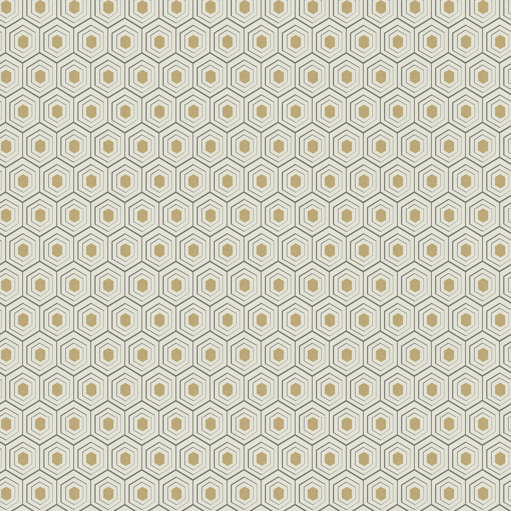 Hexagon Wallpaper - Black / Gold - by Albany