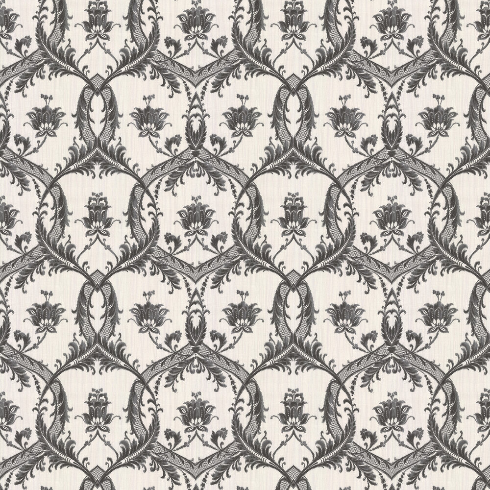 Milano Floral Damask Wallpaper - Charcoal - by Albany