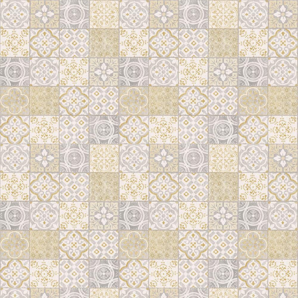 Salinas Tile Wallpaper - Yellow / Grey - by Albany