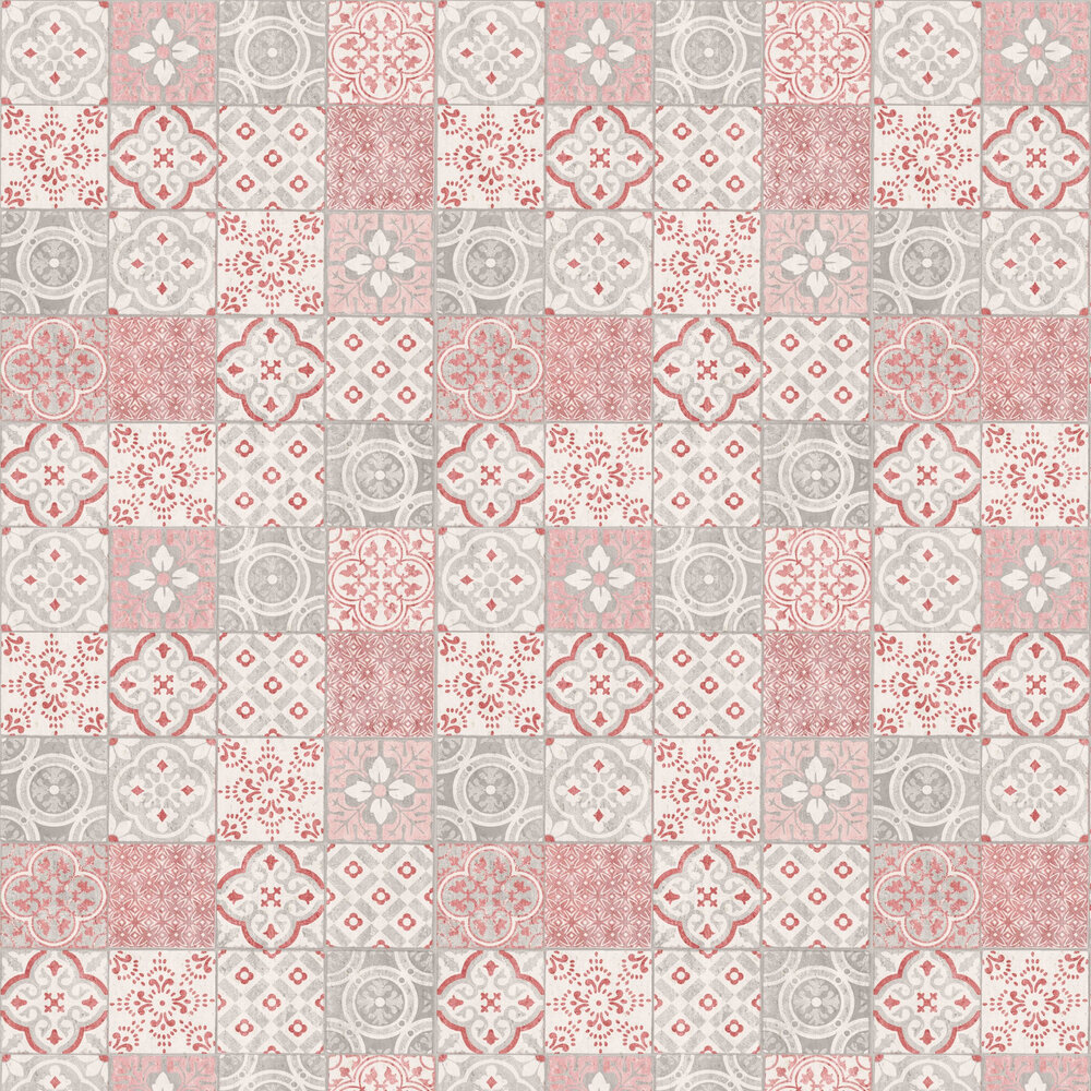 Salinas Tile Wallpaper - Pink / Grey - by Albany