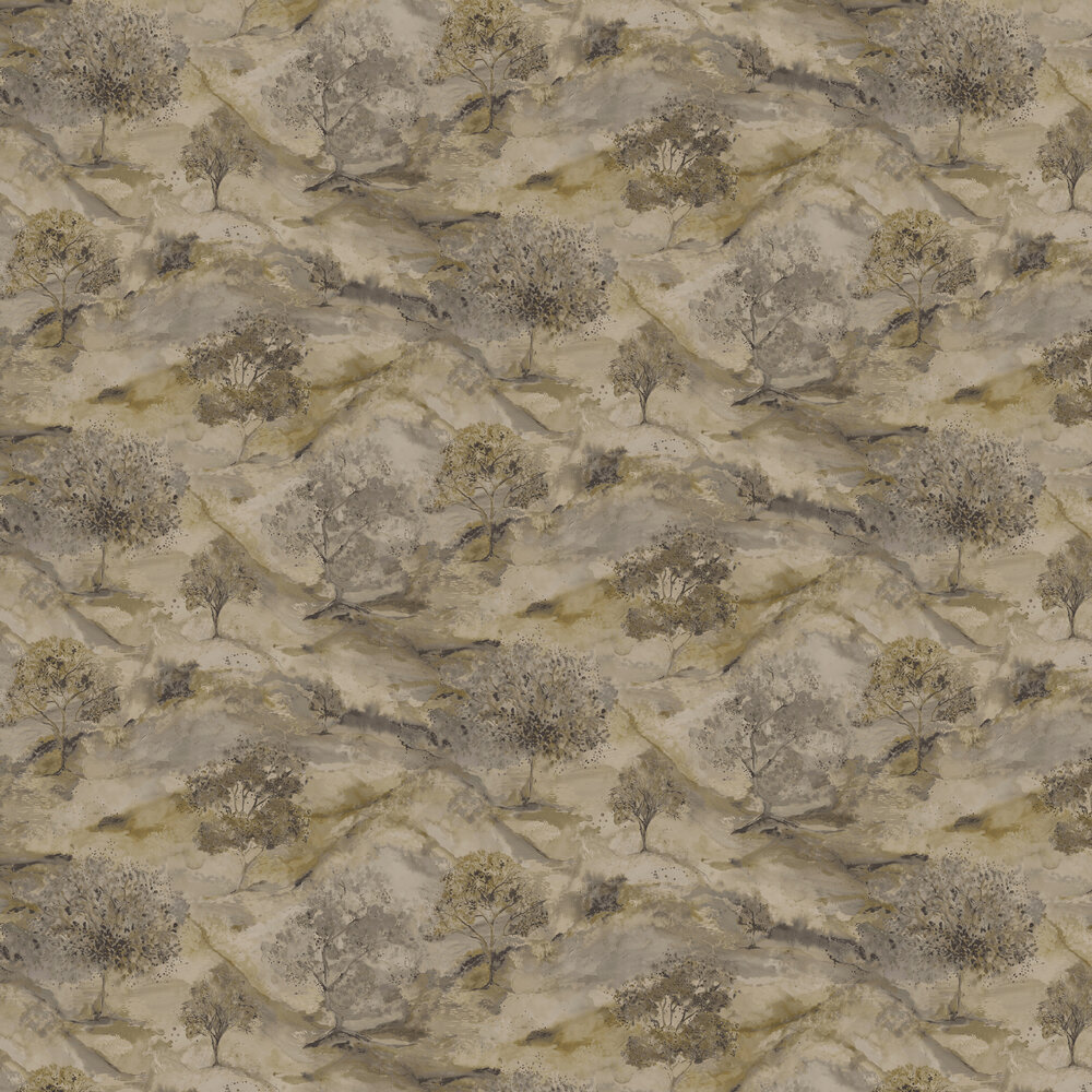 Ascadia Tree Wallpaper - Gold/ Charcoal - by Albany